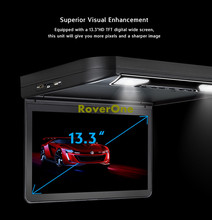 13.3 Inch Supler Slim Automotivo Mobile Video Entertainment Car Flip Down DVD Monitor Overhead Ceiling LCD Roof Mount DVD Player