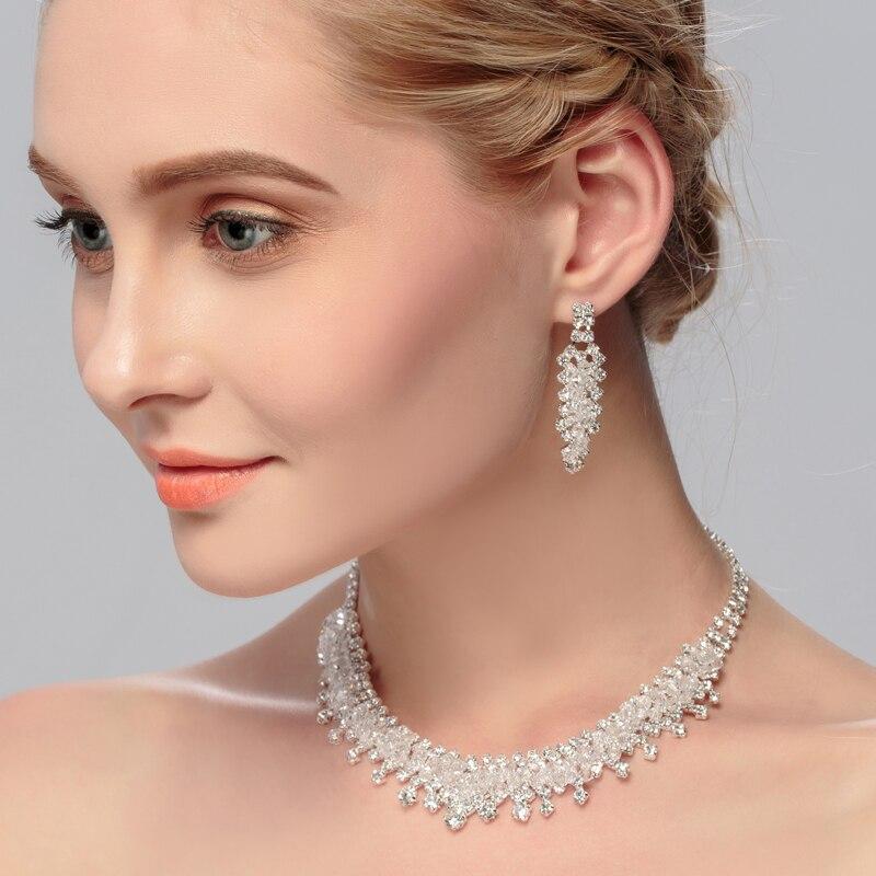 Minkissy Pendientes de Collar Nupcial Conjunto Flor en Forma de Collar de Moda Colgante Pendiente de Perno Prisionero Joyer/ía Nupcial para Boda Nupcial