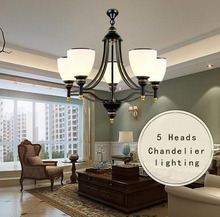 Black wrought iron modern chandelier lighting 3/5/6/8 arm E27 glass lampshade hotel/foyer/living dining room creative chandelier