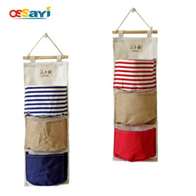 Wall Mounted 3 Pocket Storage Bags Bathroom Kitchen Supplies Fluid Systems Multilayer Pouch Stripe Cotton Door Storage Bags