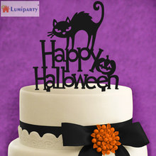 LumiParty Happy Halloween with Black Cat Creative Acrylic Monogram Cake Toppers for Halloween Party Cake Decoration-40