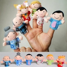 6pcs/lot Family Finger Puppets Plush Cloth Children Finger Hand Puppe Toys Glove Puppets(China)