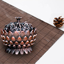 Incense Burner Creative Lotus Shape Incense Burner Alloy Mini Tibetan Incense Burner Sandalwood Censer Room Home Decor ZQ972767(China)