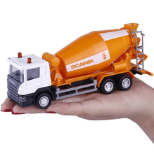 5pcs/lot Wholesale UNI 1/64 Scale Sweden Scania Cement Mixer Truck Diecast Metal Car Model Toy New In Box