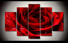 Fashion Canvas Painting Flowers Red Love Rose Modern Wall Art Poster Cheap Hot Cuadros Decoration 5Pcs Unframed Modular Pictures