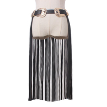 Buy Hot fashion Metal double buckle leather tassel belts women Fringe Black Faux pu Leather Lady Belt High Waist tide female Long for $16.95 in AliExpress store