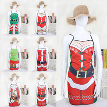 Cute Christmas Apron Kitchen Cleaning Tools Santa Claus Aprons Kitchen Gadgets Women and Men Dinner Party Aprons(China)