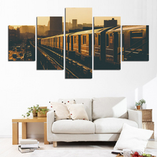 Wall Art Home Decor Living Room Frame Canvas Pictures 5 Pieces Retro Photograph Train City Painting HD Printed Landscape Posters