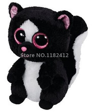 Ty Beanie Boos Plush Animal Flora the Skunk Cute Stuffed Animals Big Eyes 6'' 15cm Baby Kids Toys for Children Gifts