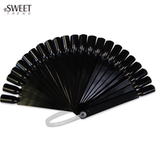 SWEET TREND NEW 32Tips False Nail Practice Tool Tips Black Sticks Polish Display Fan Shape Board Nails Art DIY Tools LAND295