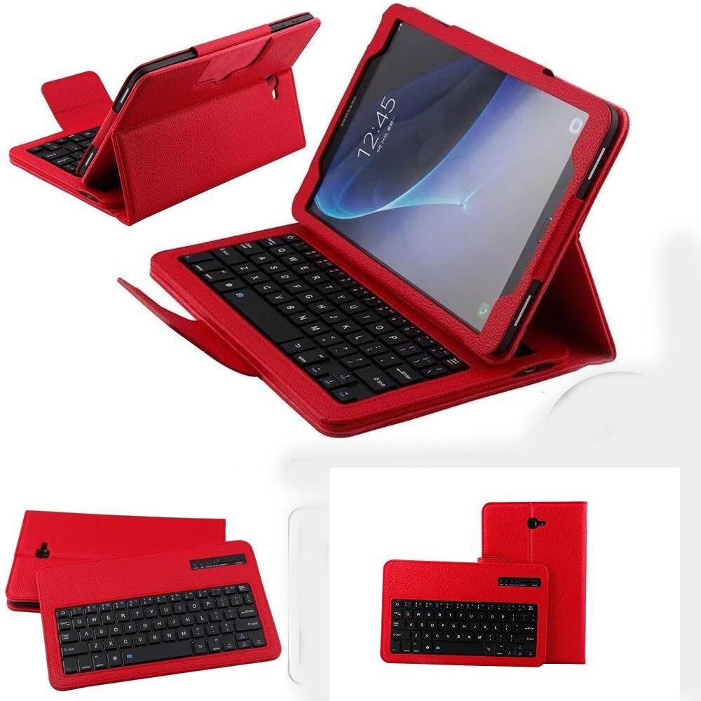 Bluetooth Keyboard Case For Samsung Galaxy Tab A A6 10.1 2016 SM T580 T585 PU Leather Detachable keyboard kickstand funda case<br>