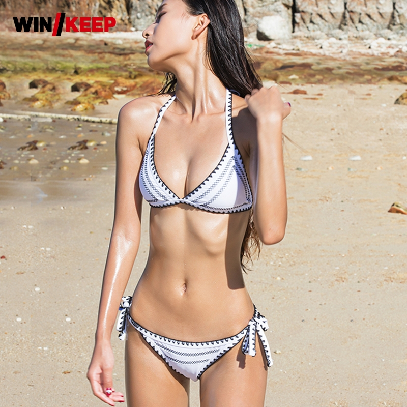 2018 New Womens Shark Teeth Hand-Crocheted Swimsuit Female Black White Lace Sexy Chest Gathered Bikini Sets Embroidery Wire Free<br>