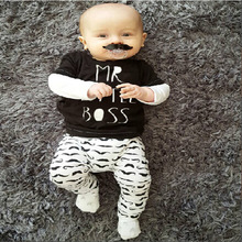 Hot Baby Clothing Set Cute Moustache Newborn Baby Boys Kids Mr Little Boss Letter T-shirt Long Sleeve Top+Long Pants Outfit Set(China)