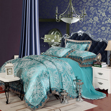 Luxury Silk Bedding Set Embroidery Bed Linens Tencel Satin Bed Sheet Set Jacquard Bedclothes Queen/King Size Bed cover 4/6pcs