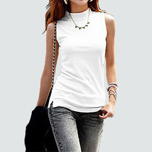 Buy 2018 New Women Cotton T Shirt Summer Vest Turtle Neck Sleeveless Bottom Shirts Solid Tops Tees Women Tanks Slim Shirts Lady Vest for $6.99 in AliExpress store