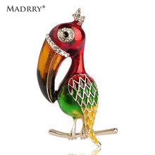 Madrry Newest Vivid Bird Brooches For Women Kids Red Enamel Gold-color Broches Lapel Pins Up Collar Clips Dress Suit Decorations