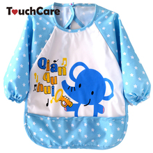 Cute Cartoon Animal Printed Baby Bibs Newborn Long Sleeve Art Apron Smock Waterproof Feeding Eat Toddler Clothes Bibs