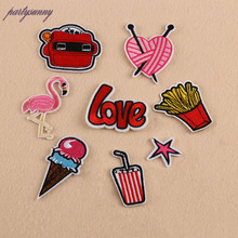 Flamingo Letter Patches Computer Embroidery Hand Sewing Ironing Stripes Patch Sticker On Cloth Jacket Hat Bag Accessories TB047(China)