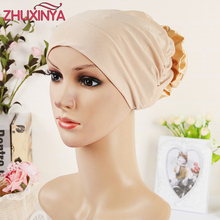 11 colors Islamic Scarves Wraps Hijab caps Womens 2017 New Designer Muslim All Inclusive Cap Curved Optional Women Muslims Hat(China)