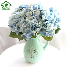 High Quality 5 Heads Real Touch Artificial Fake Silk Flower Hydrangea Flowers Leaf Bouquets Home Party Wedding Decoration Favor