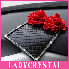 Ladycrystal Auto Interior Accessories Anti Slip Car Sticky Diamond Rose Anti-Slip Mat For Mobile Phone Mp3 Mp4 GPS Pad Car Doll