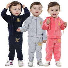 Anlencool Free shipping  babyrow brand children 's clothes suit cotton velvet baby clothing set Boys and girls sports clothing