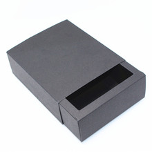 "10.6*8.4*4cm 10Pcs/ Lot Recyclable Black Kraft Paper Box For Chocolates Small Articles 4.17""x3.3""x1.57"" Gifts Party Drawer Boxes"