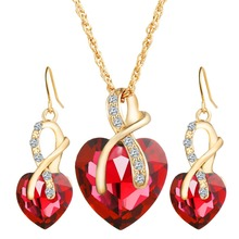 IF YOU Gold Color Red Blue Elegant Heart Rhinestone Necklace Earring Jewelry Set Metal Chain Fashion Jewelry For Women Pendant