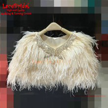 Real Luxury Champagne Ostrich Feather Wedding Fur Boleros 2017 with Crystal Women Bridal Shawls Jackets for evening dresses B77