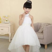 Wedding Day Flower Girls Dress White Elegant Sleeveless Dress Baby Kids Girls Princess Dress girls Party Clothing