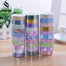 Scrub Glitter Printing Carving Washi Roll DIY Decor Scrapbooking Sticker Masking Paper Decoration Tape Adhesive School Supplies