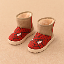 Hot SALE Children Boots Shoes Winter New Fashion Plush Warm Girls Boots Kids Soft Shoes Boys Cartoon Spiderman Boots Size 26-35