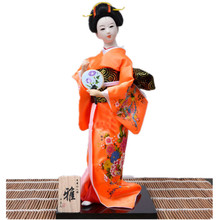 Unique Japanese style Geisha Dolls crafts in Orange kimono with fans New year gifts vintage home decor