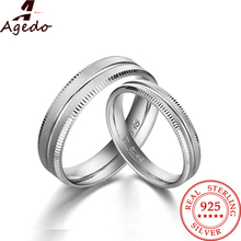 Dazzling Fashion Frosted Couple Rings Solid Real 925 Sterling Silver Jewelry White 18K gold Plated 1 Pair Engagement Rings 8270