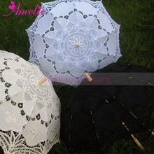 Free shipping 10pcs/lot Vintage Embroidered Fancy Batternburg Lace Parasol Umbrella Wedding Favors in 3Colors(China)