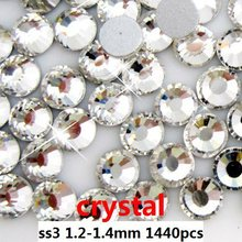 Non Hotfix Crystal Rhinestones For Nail Art Decoration 1440pcs ss3 1.3-1.5mm Crystal Clear Color Round Strass Stones Diy Garment