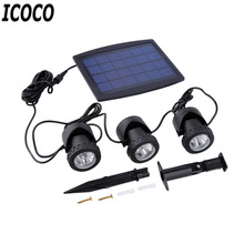 NEW 1PC solar panel with Solar Powered 3 Bulbs Submarine Spotlight 18LEDS RGB/cool white Garden Pool Pond Lamp Underwater Lights