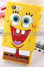 2014 New 3D Cartoon Spongebob Sponge Bob Silicone rubber soft  Phone Case Cover For iphone 6 4.7 inch i6 plus 5 5s