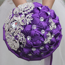 new 2017 manual custom theme wedding satin ribbon pearl inlaid with diamond brooch bride holding flowers bouquet bainise