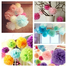 "8"" (20CM) 10PCS/Lot Paper Artificial PomPom Tissue Ball Flower For Wedding Home Party Room Decoration Pompon Craft Products(China)"