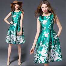 Pls buy it!Top quality 2017 Vintage dresses Floral Print Style Charming Elegant Women dress spring sleeveless Retro dresses