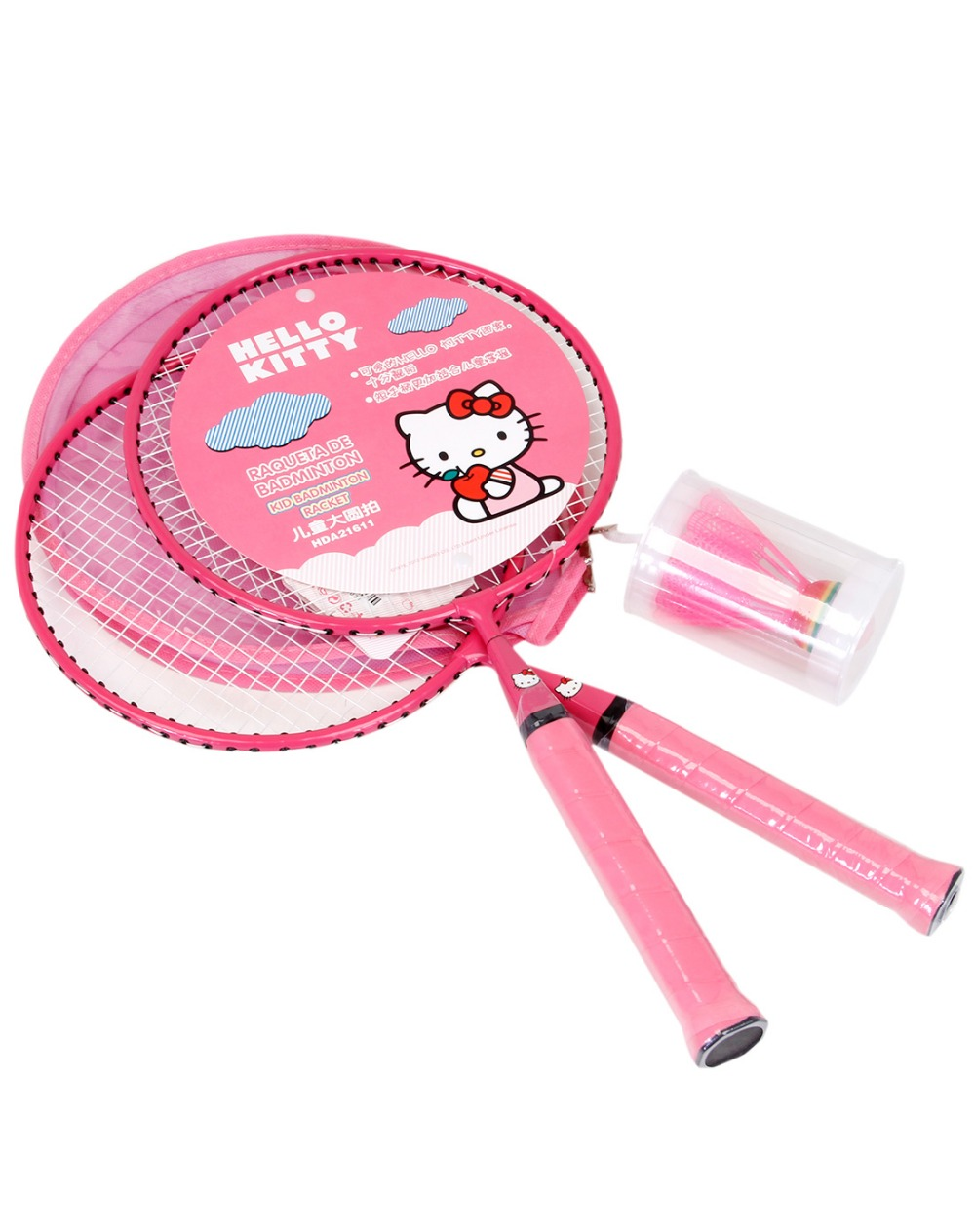 HELLO KITTY Badminton Rackets Sports cheap Kids Cartoon racket Set Training children 44cm fit 3-12 years old Badminton Rackets (2)