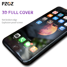 Pzoz glass 7 for iphone tempered 3D full cover curved edge 3D Anti Blue Light for iphone 7 glass screen protector 9h black clear(China)