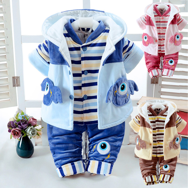 2017 Autumn & Winter Infant Baby's Clothes Set Add Cotton-Padded Thick Clothes Suits 0-2 Years Newborn Baby Three pieces/Set