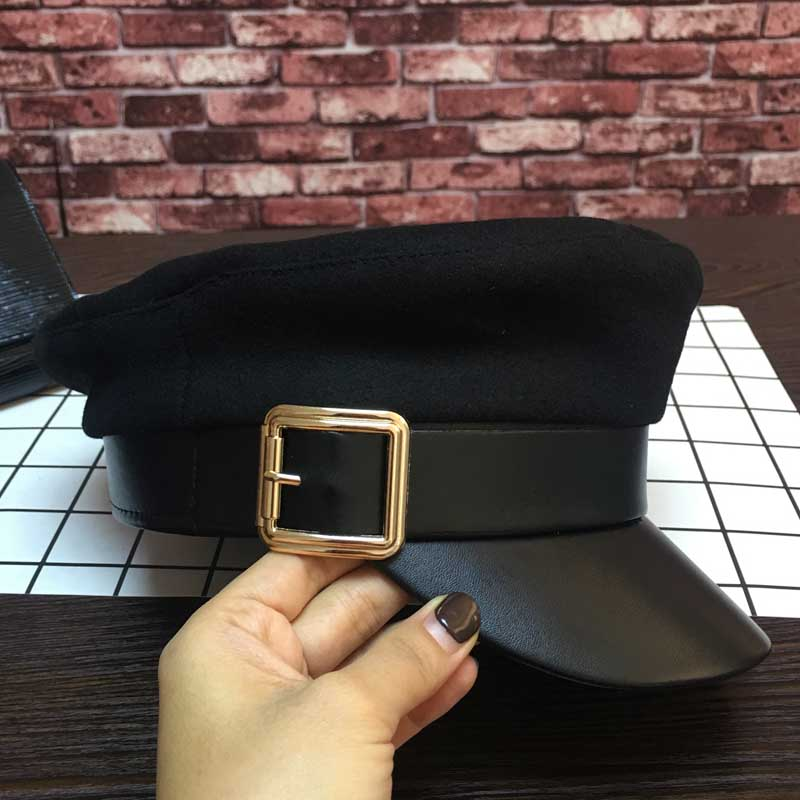 European and American new woolen stitching leather eaves Knights cap back ancient student hat baseball cap female hat<br>