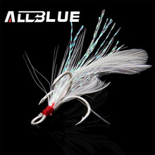ALLBLUE 10Pcs/lot New Super Strong Tank Feathered Treble Hooks 2# 4# 6# 8# 10# Three Fish Fly Hooks Lure Fishing Tackle(China)
