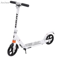 New Ancheer Scooter Sturdy Lightweight Height Kick Scooters Adjustable Aluminum Alloy T-Style Foldable Adults Foot Scooters(China)