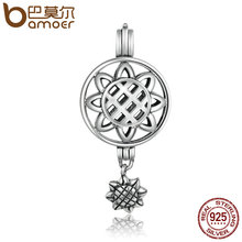 BAMOER High Quality 925 Sterling Silver Sun Flower Dangle Cage Pendant Fit Chain Necklaces Women Authentic Silver Jewelry SCP011(China)