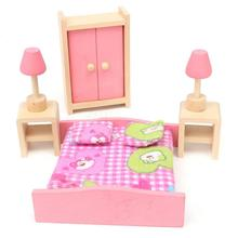 Wooden Bedroom Dolls House Furniture Miniature For Kids Children Toy Gift Hot