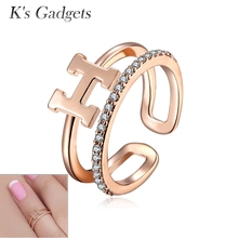 Resizable Toe Ring For Women H Letter Silver plated and  Rose Gold Knuckle Ring Resizable Toe Ring Joint Zircon Nail Ring